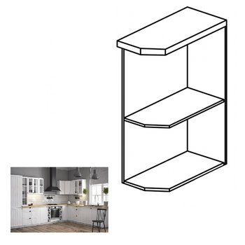 Dolná skrinka s dvomi policami D25PZ, pravá, biela, PROVANCE
