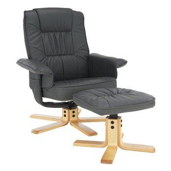 Relaxačné kreslo s podnožou, tmavosivá, LERATO
