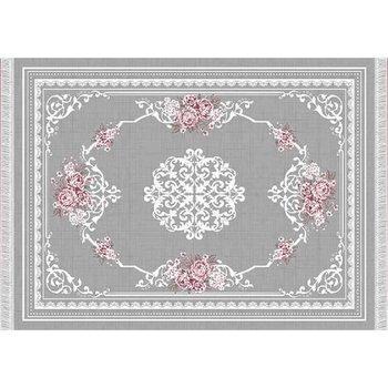 Koberec, sivá/kvety, 80x150, SEDEF TYP 2