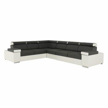 Rohová sedacia súprava, sivá/biela, pravá, MARBELA LUX 2+3