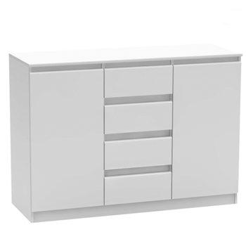 2 dverová komoda so 4 šuplíkmi, biela, HANY NEW  010