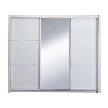Skriňa s posúvacími dverami, biela/ vysoký biely lesk, 258X213,  ASIENA