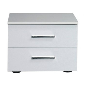 Nočný stolík, 2 kusy, biela/vysoký biely lesk HG, ASIENA