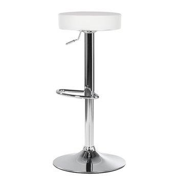 Barová stolička, biela ekokoža/chróm, ADALIN