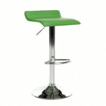 Barová stolička, ekokoža zelená/chróm, LARIA NEW
