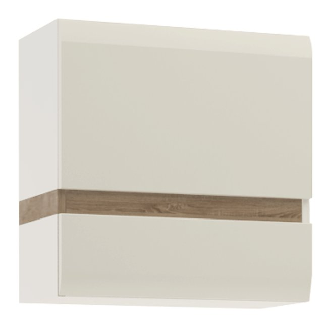 Visiaca skrinka, biela extra vysoký lesk HG/dub sonoma tmavý truflový, LYNATET TYP 66