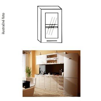 Kuchynská skrinka, ľavá, strieborné orámovanie/sklo, ITA GW-40