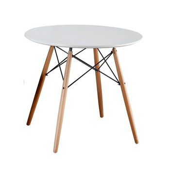 Jedálenský stôl, biela/buk, GAMIN NEW 90
