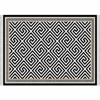 Koberec, čierno-biely vzor, 80x150, MOTIVE
