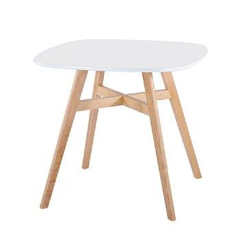 Jedálenský stôl, biela/prírodná, DEJAN 2 NEW