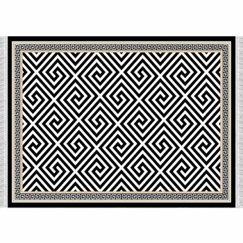 Koberec, čierno-biely vzor, 160x230, MOTIVE