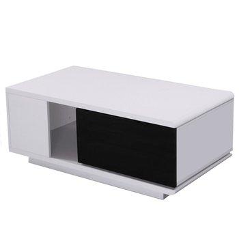 Konferenčný stolík, biela/čierna HG, DEMBA NEW