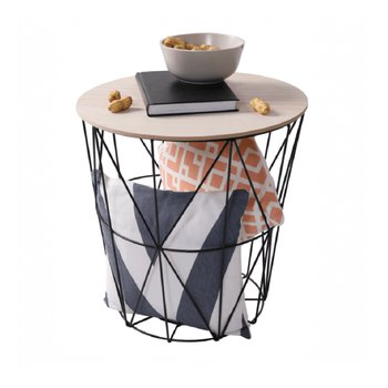 Príručný stolík, prírodná/čierna, NANCER TYP 1