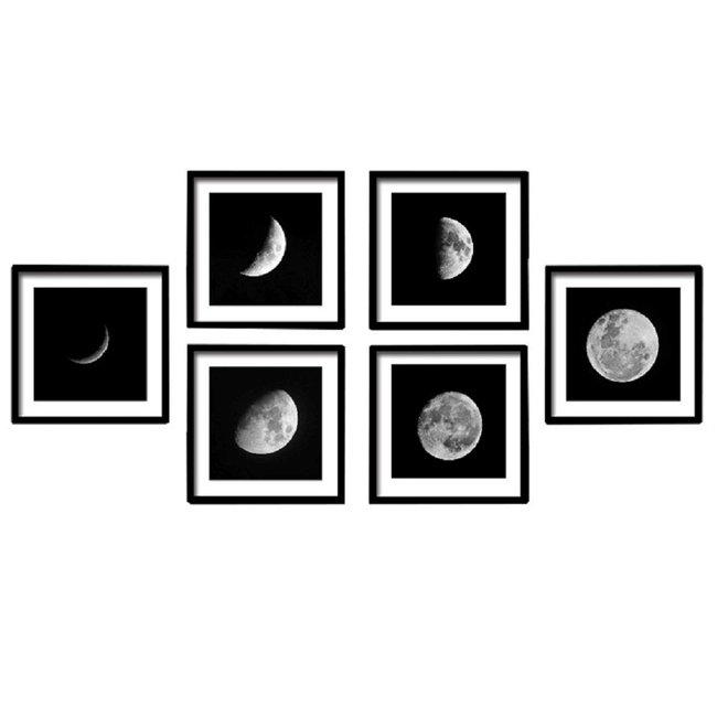 Zasklený tlačený obraz, biela/čierna, DX TYP 10 MESIAC