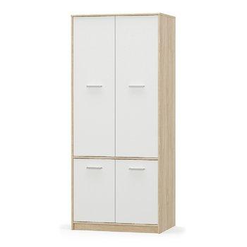 4-dverová vešiaková skriňa, biela/dub sonoma, TEYO