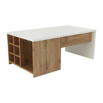 Konferenčný stolík, biela/dub wotan, DARAH