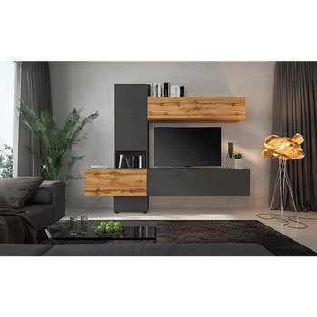 Obývacia stena, lava hnedá super mat/dub wotan, BRISTOL