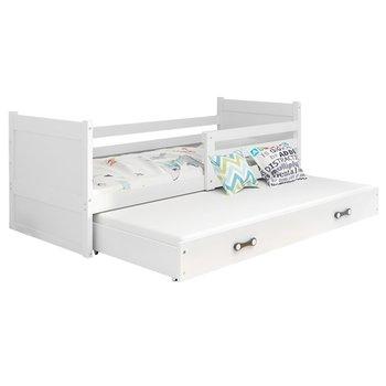 Drevená posteľ s prístelkou, biela, KORI 2 NEW