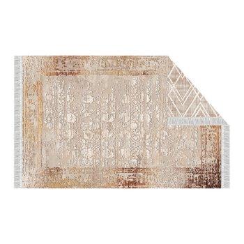 Obojstranný koberec, béžová/vzor, 180x270, NESRIN