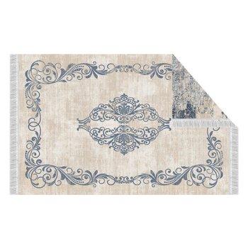 Obojstranný koberec, vzor/modrá, 80x150, GAZAN