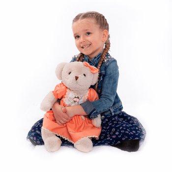 Plyšový medvedík, smotanová/oranžová, 45cm, MADEN GIRL TYP1