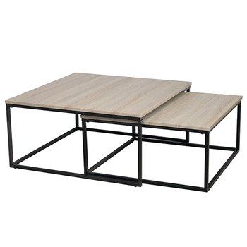 Konferenčné stolíky, set 2 ks, dub sonoma/ čierna, KASTLER TYP 1
