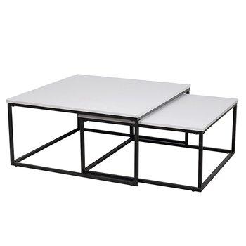 Konferenčné stolíky, set 2 ks, matná biela/ čierna, KASTLER TYP 1, rozbalený tovar