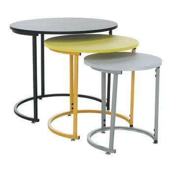 Set 3 príručných stolíkov, čierna/žltá/sivá, RONEL NEW, poškodený tovar-škrabance a obié hrany