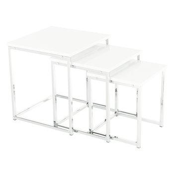 Konferenčné stolíky, set 3 ks, biela extra vysoký lesk, ENISOL TYP 3