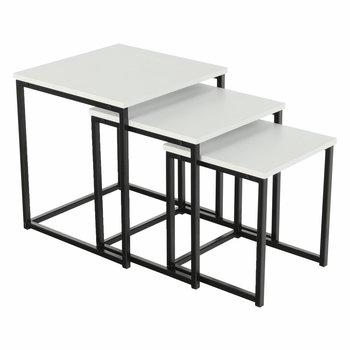 Konferenčné stolíky, set 3 ks, biela matná/čierna, KASTLER TYP 3