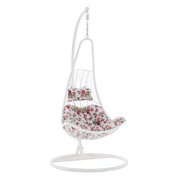 Závesné kreslo, biela/vzor kvety, KALEA NEW