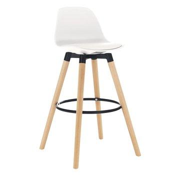 Barová stolička, biela/buk, EVANS