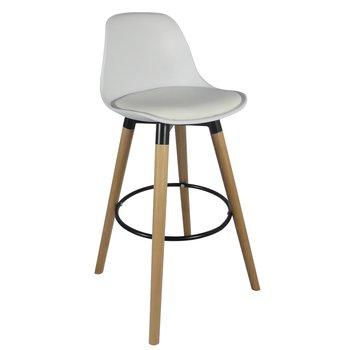 Barová stolička, biela/buk, EVANS, poškodený tovar