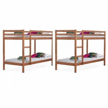 Poschodové postele, set 2 ks, borovicové drevo svetlohnedá, VERSO