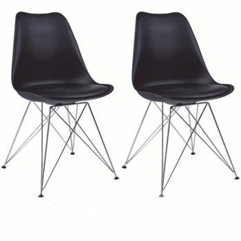2 kusy, stolička, čierna/chróm, METAL 2 NEW