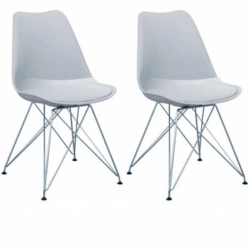 2 kusy, stolička, studená sivá/chróm, METAL 2 NEW