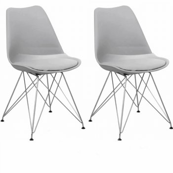 2 kusy, stolička, teplá sivá/chróm, METAL NEW