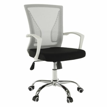 Kancelárske kreslo, sivá/čierna/biela/chróm, IZOLDA