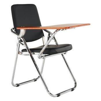 Stolička s doskou na písanie, čierna/prírodná, SONER