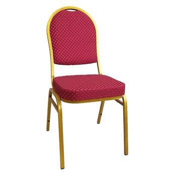 Stolička, stohovateľná, látka červená/zlatý náter, JEFF 3 NEW