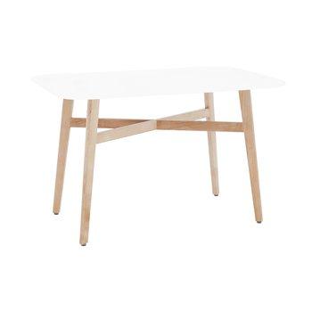 Jedálenský stôl, biela/prírodná, CYRUS 2 NEW