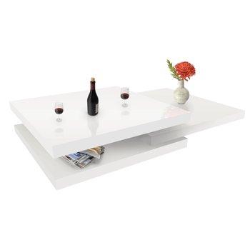 Otočný konferenčný stolík, biela vysoký lesk HG, SONIC