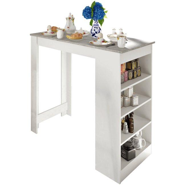 Barový stôl, biela/betón, AUSTEN