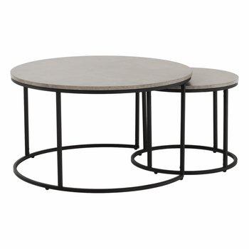 Set dvoch konferenčných stolíkov, betón/čierna, IKLIN