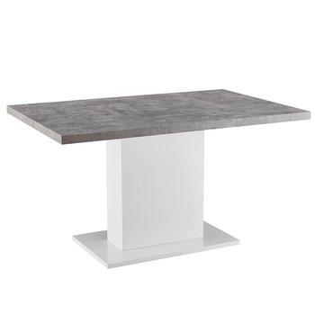 Jedálenský stôl, betón/biela extra vysoký lesk, KAZMA