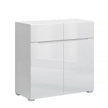 Komoda 2D2S, biela/biely extra vysoký lesk HG, JOLK