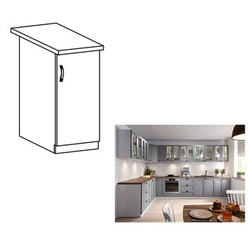 Spodná skrinka, sivá matná/biela, pravá, LAYLA D30