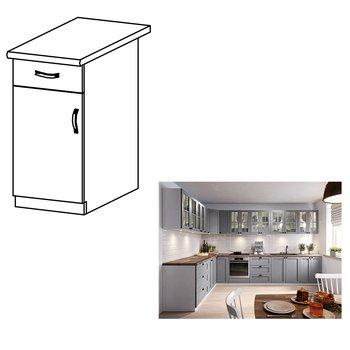 Spodná skrinka, sivá matná/biela, ľavá, LAYLA D40S1