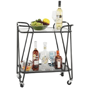 Pojazdný servírovací stolík, čierna/sklo, MEGON