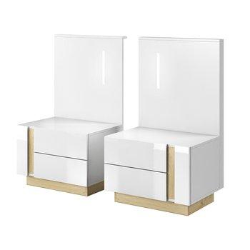 2 nočné stolíky, biela/dub grandson/biely lesk, CITY